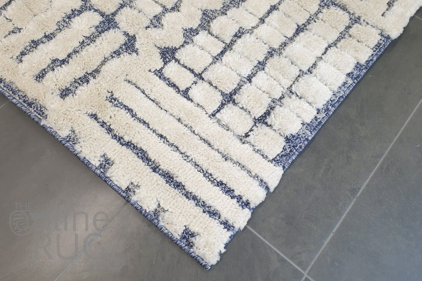 Chloe Blue Ivory Abstract Lines Textured Rug