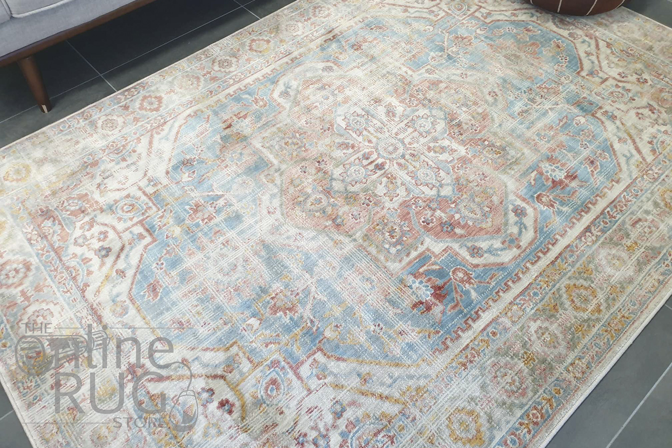 Odette Blue Orange Medallion Vintage Rug