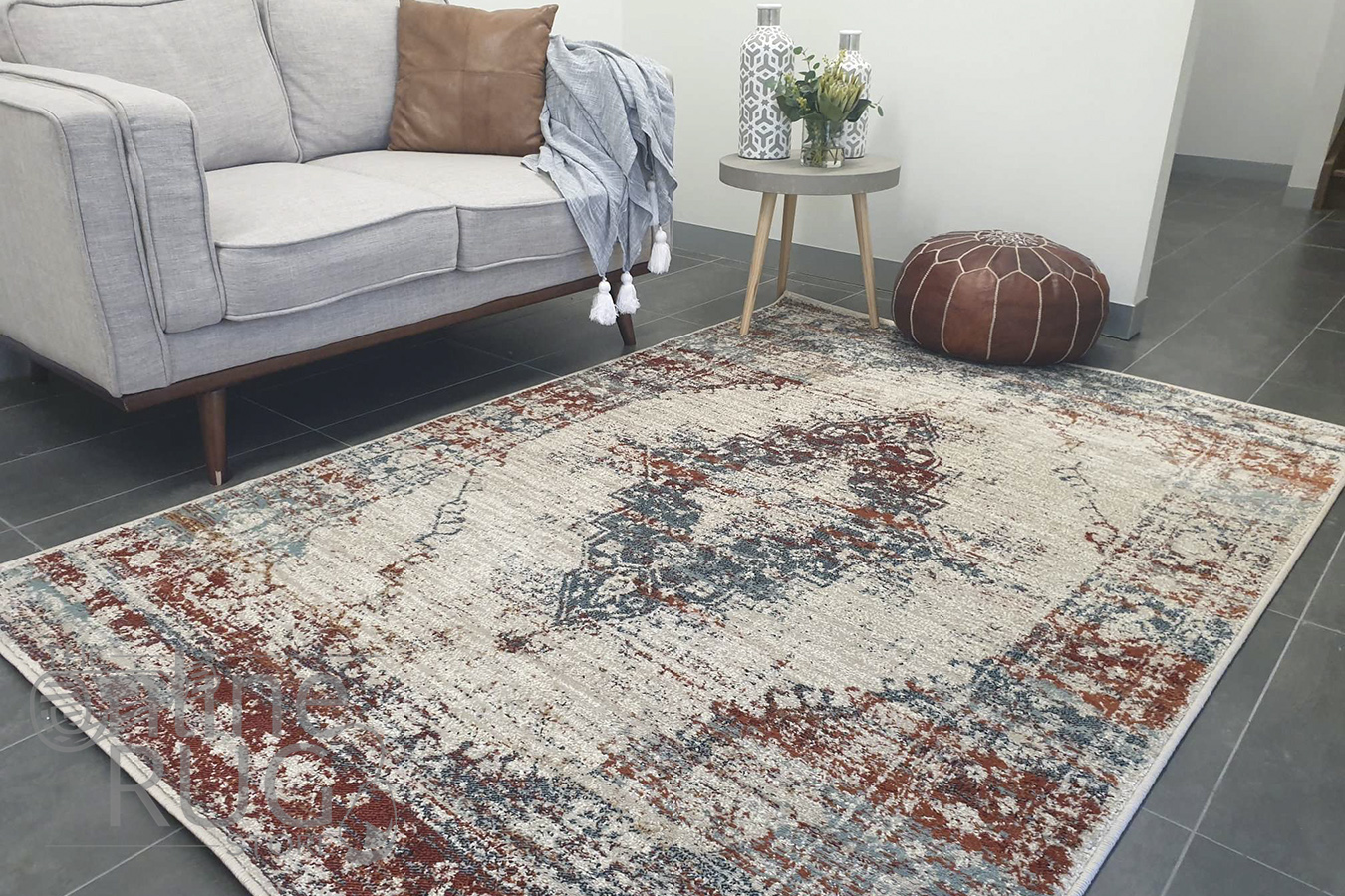 Raffy Ivory Terra Medallion Transitional Rug
