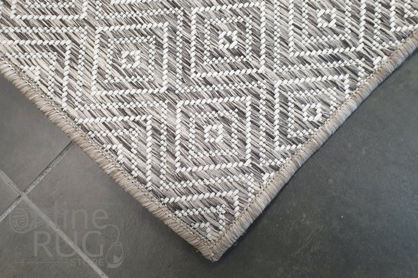 Tash Natural Diamond Patterned Outdoor Rug