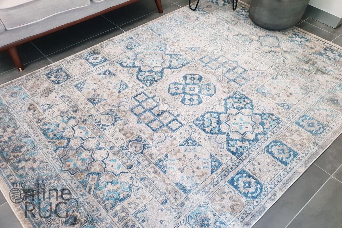 Ziah Blue Grey Stonewashed Traditional Rug