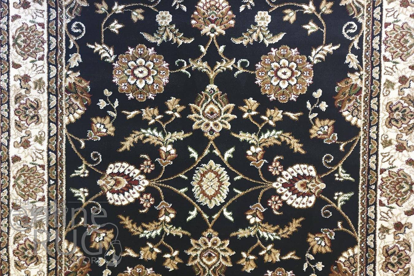 Simcha Black Cream Oriental Traditional Rug