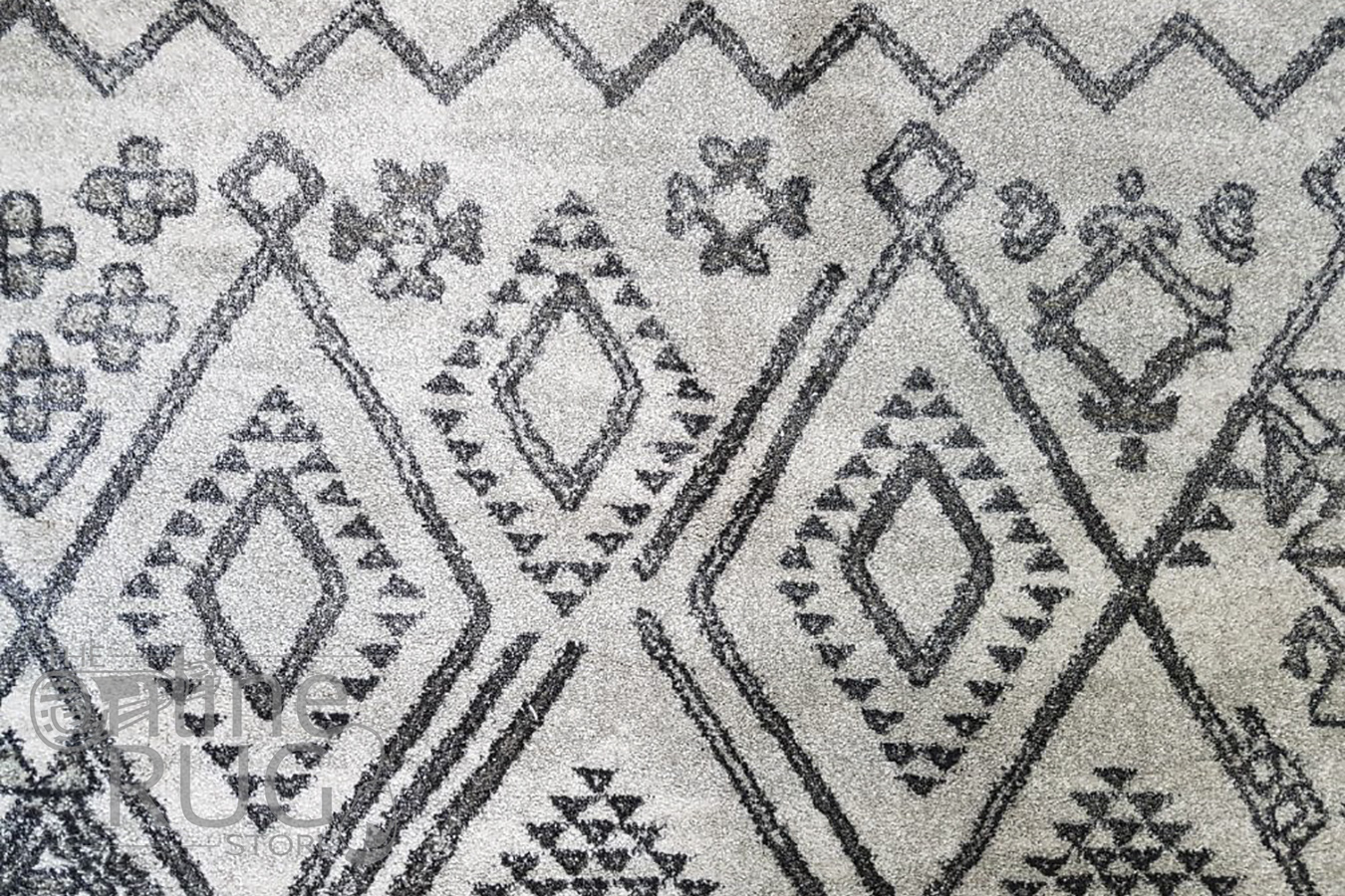 Caprice Grey Tribal Art-Silk Rug