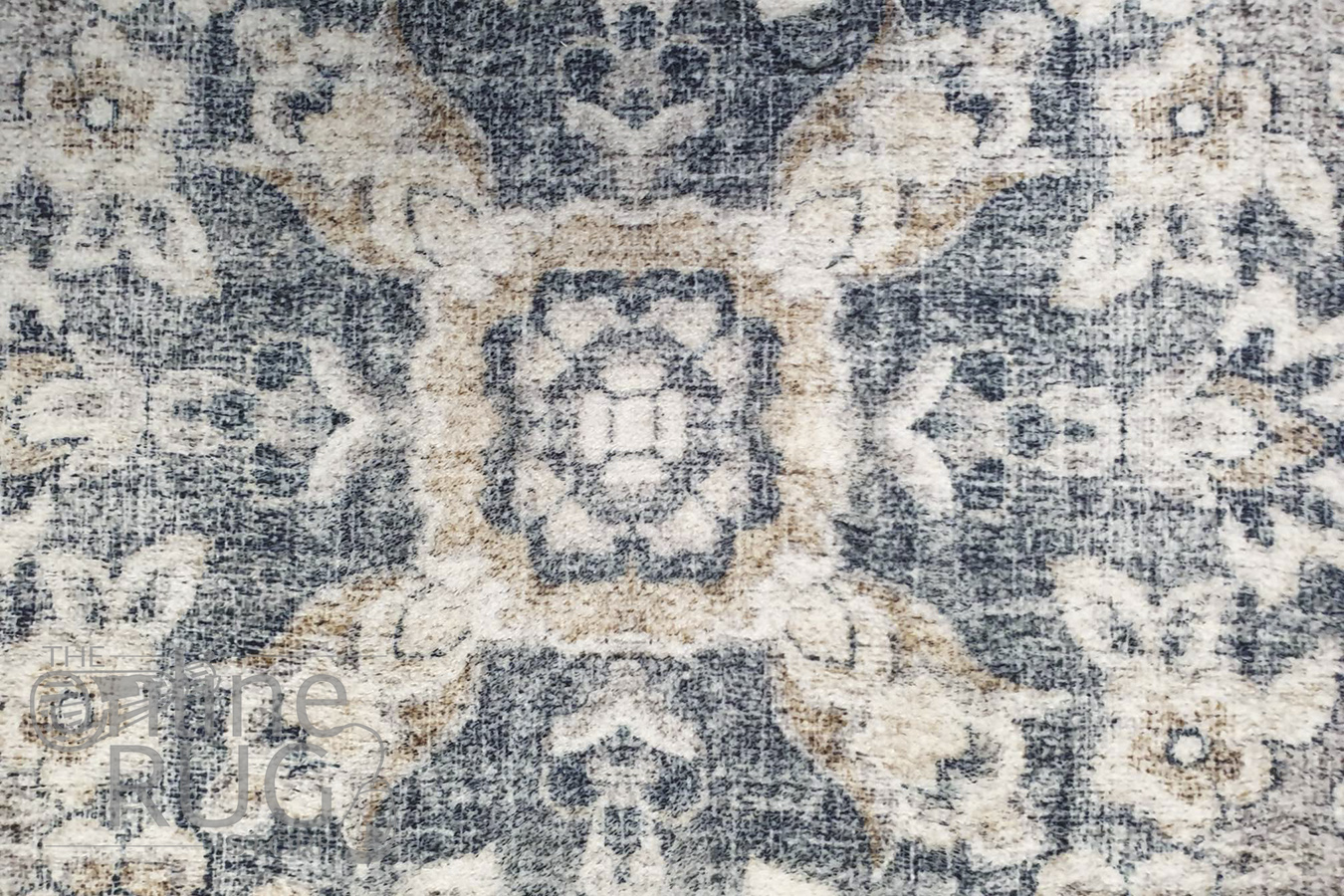 Ariel Charcoal Navy Medallion Transitional Rug