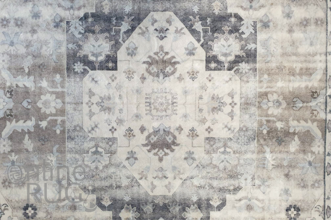 Ariel Blue Ivory Beige Medallion Transitional Rug
