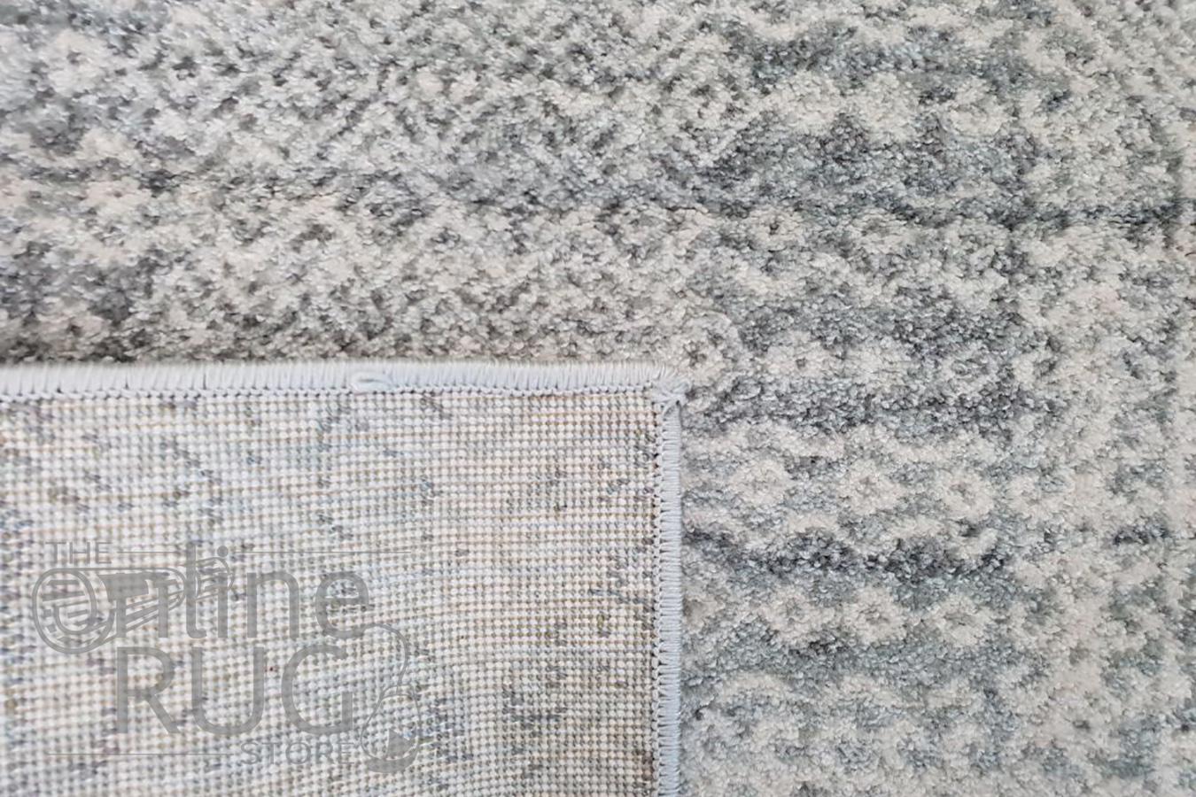 Mystique Silver White Vintage Patterned Rug